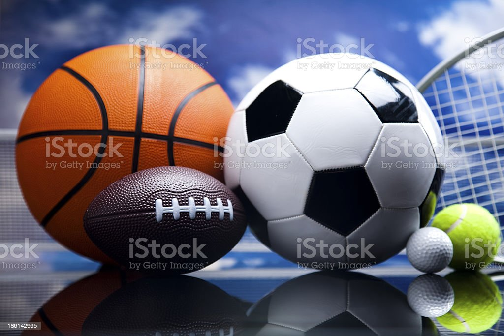 Sport equipment and balls royalty-free stock photo