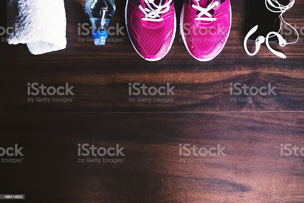 Sport equipment on wooden background stock photo