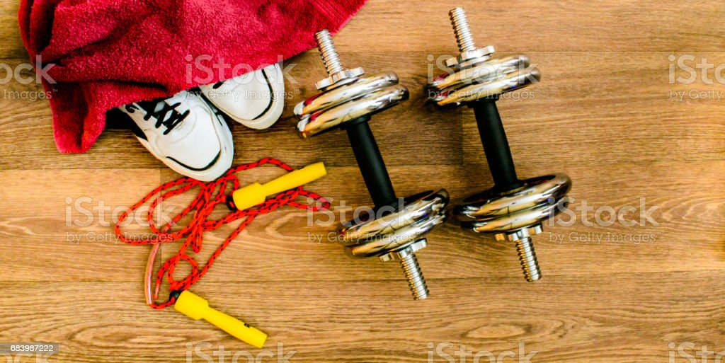 sport equipment, rope, fitness, sports, towel, sneakers, wooden...