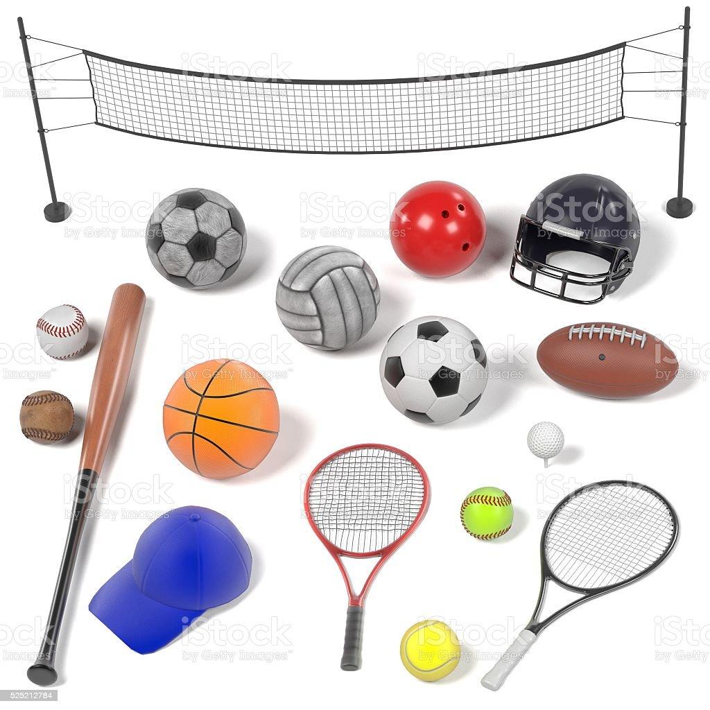 3d renderings of sport equipment set