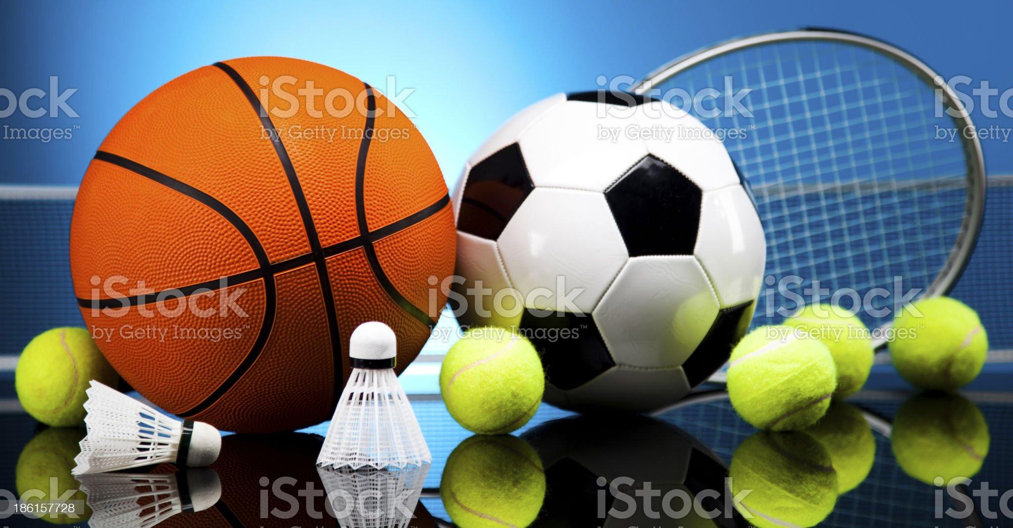 Sport Equipment, Soccer,Tennis,Basketball royalty-free stock photo