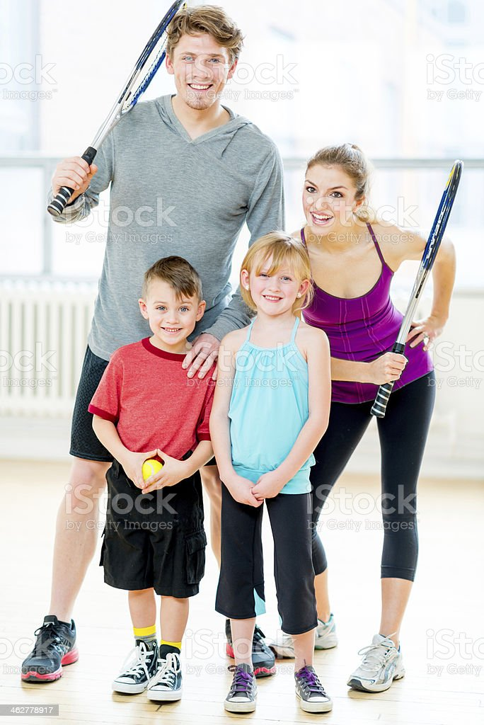 sport family portrait stock photo