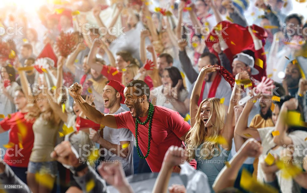 Sport fans: A man shouting stock photo