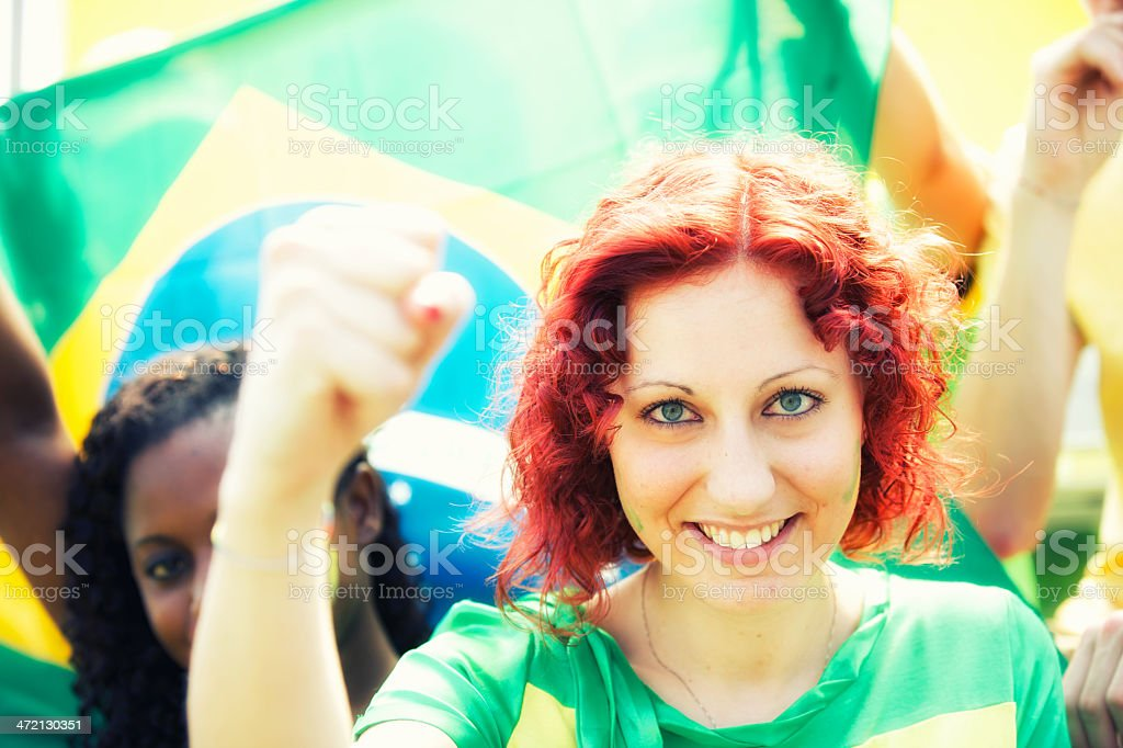 Sport fans cheering a game stock photo