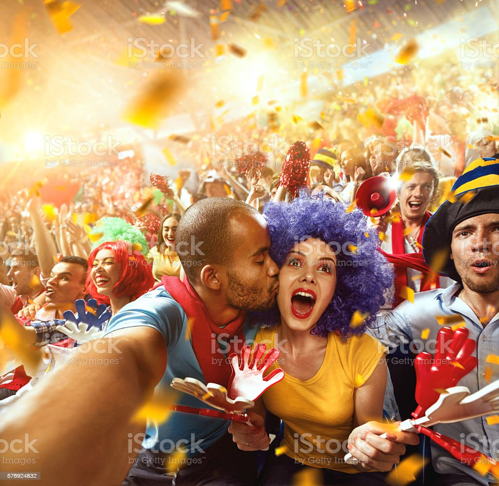 Sport fans: Couple in love stock photo