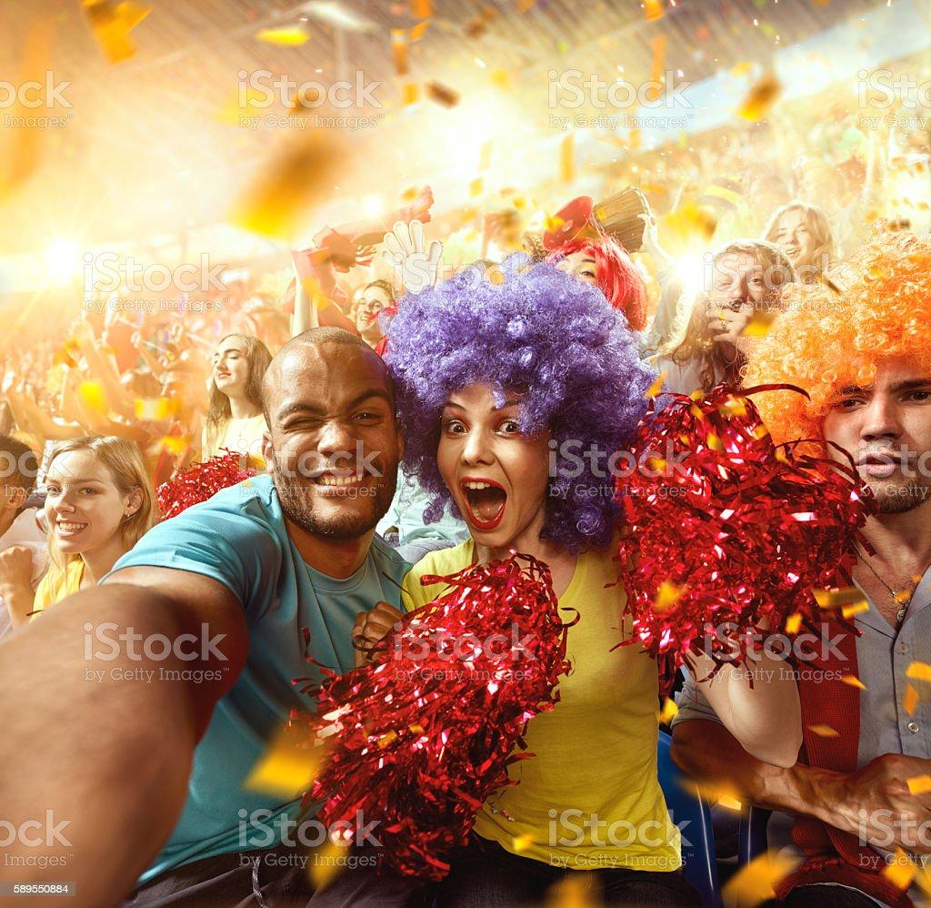 Sport fans: Couple in love stock photo