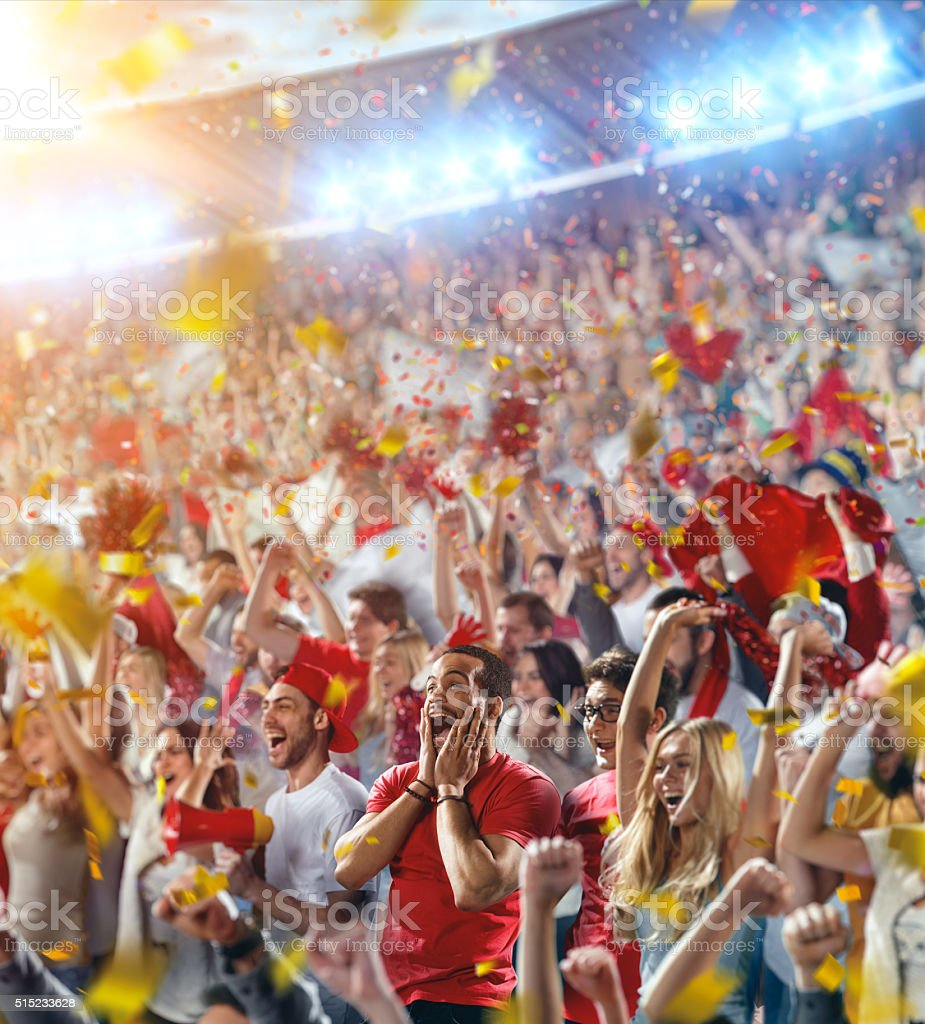Sport fans: Happy cheering friends stock photo