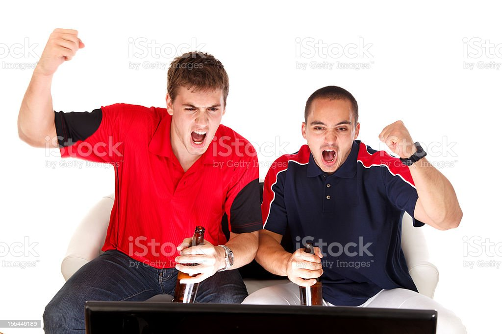 Excited sport fans looking tv and drinking beer