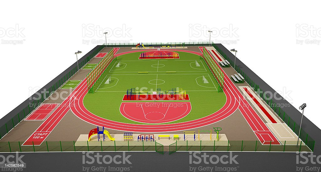 Sport field 3d model isolated on white royalty-free stock photo