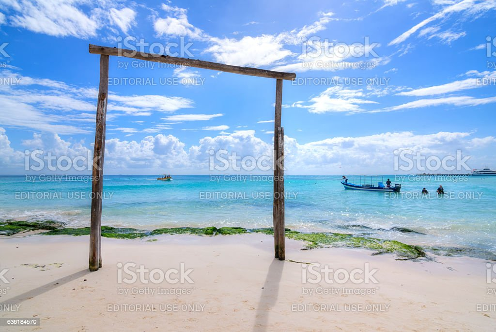 Sport fishing and scuba activities at Playa del Carmen stock photo