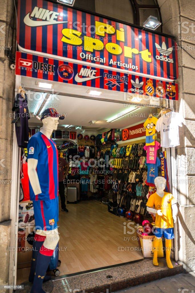 Sport gift store in Barcelona, Spain stock photo