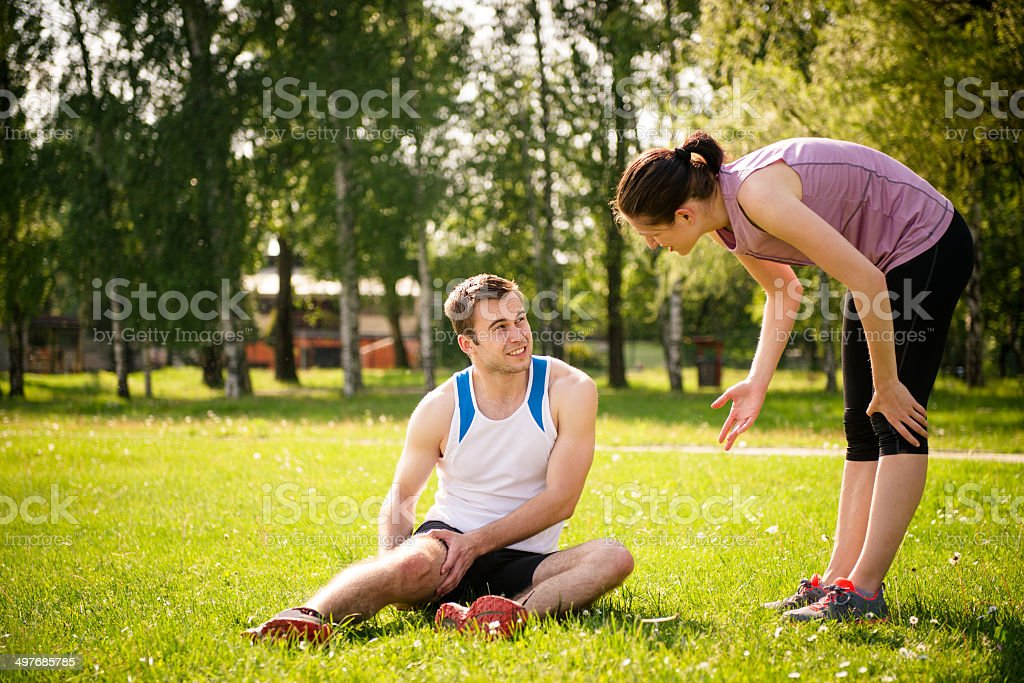 Sport Injury - problems with thigh royalty-free stock photo