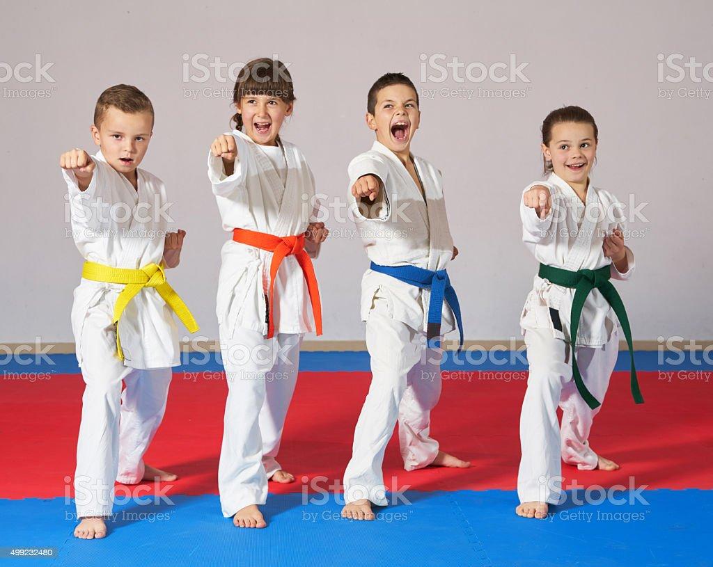 sport karate kids stock photo
