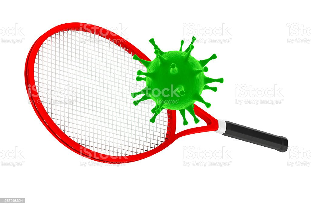 Sport Kill the Virus Concept. Tennis Racket with Virus. stock photo
