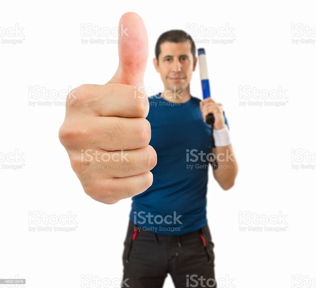sport man gesturing all is right stock photo