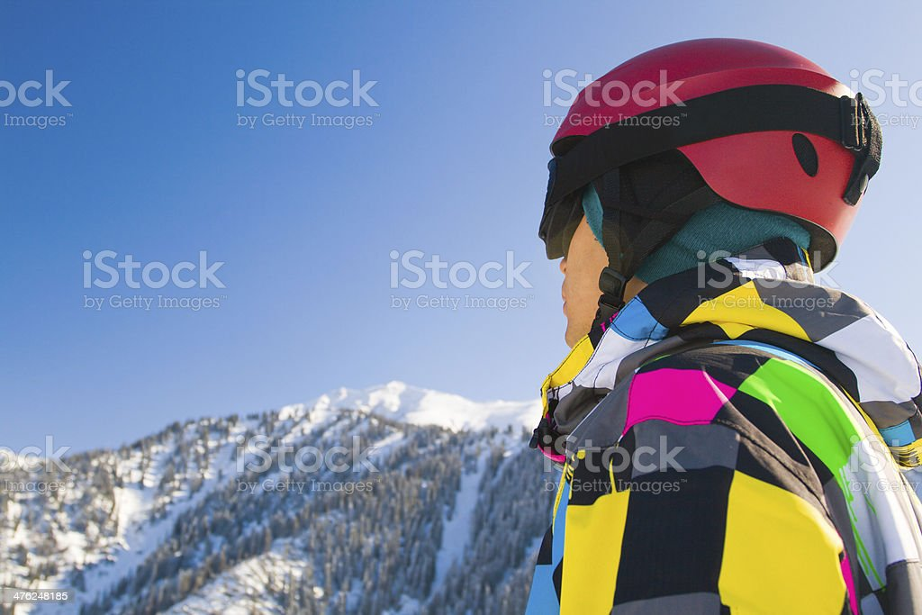 Sport man in snowy mountains royalty-free stock photo