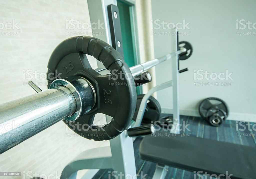 Sport neck for the rod in the gym stock photo