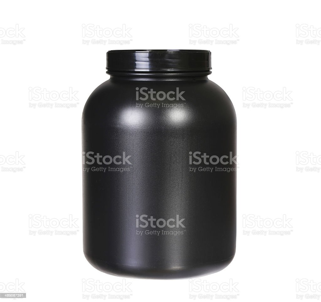 Sport Nutrition, Whey Protein or Gainer. Black Plastic Jar isolated stock photo