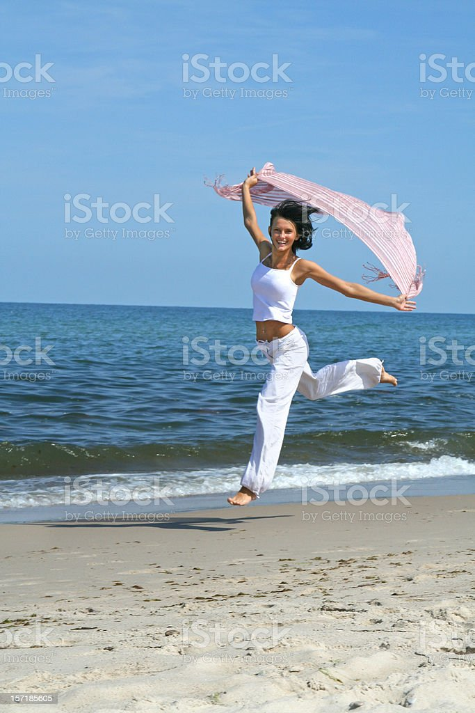 Sport on a beach - beautiful, sexy woman royalty-free stock photo