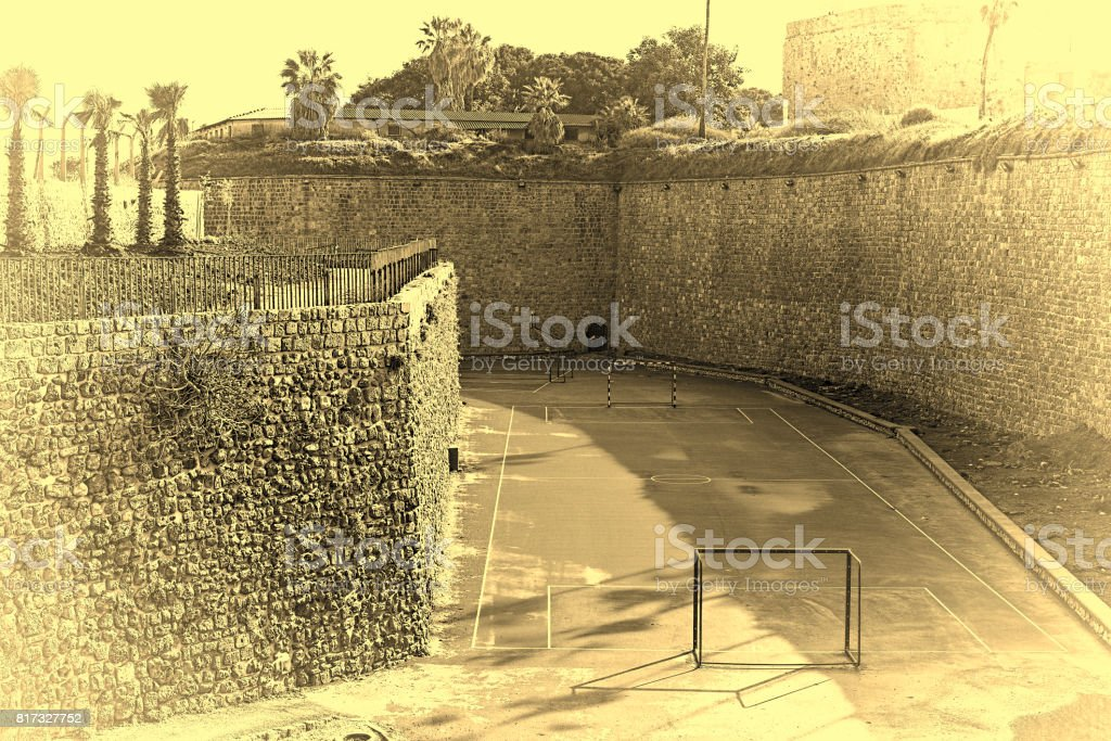 Sport Playground at the Akko Walls in Israel stock photo