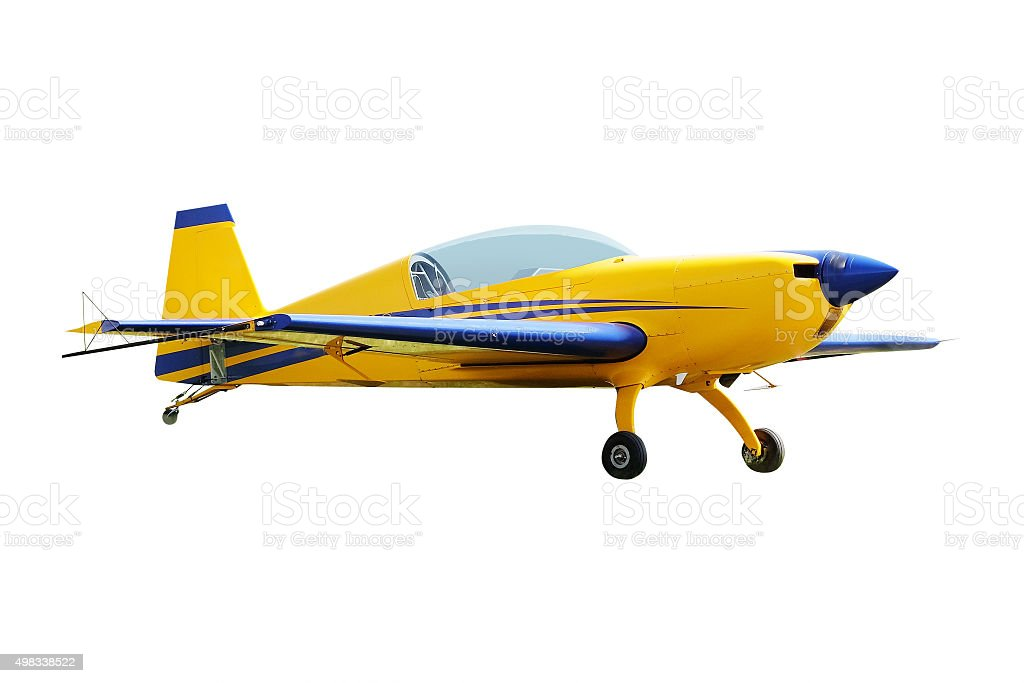 sport propeller airplane stock photo