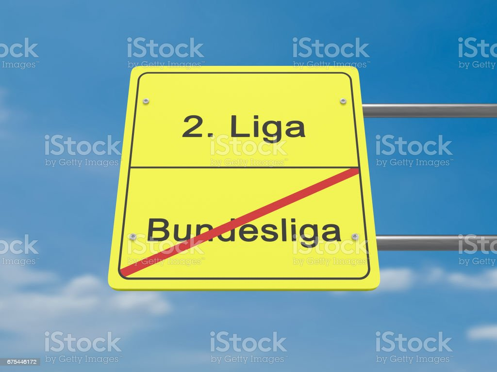 Sport Relegation Concept Road Sign: First Division To Second Division In German Language, 3d illustration stock photo