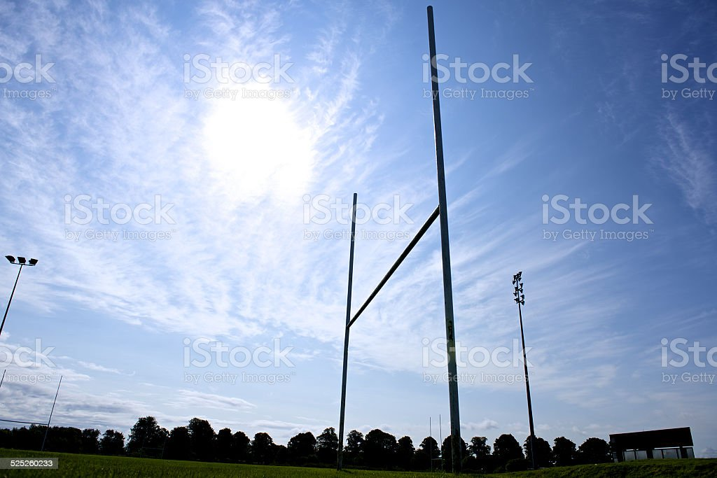sport rugby goal post ,field with sky ,horizontal stock photo