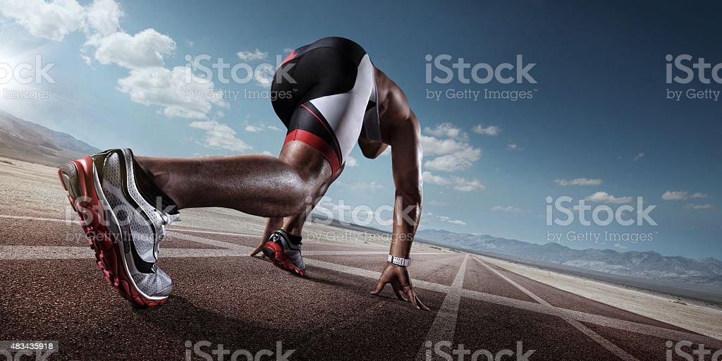 Sport. Runner on the start line stock photo
