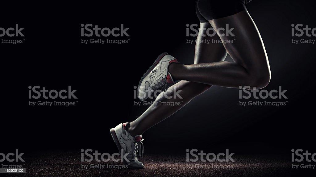 Sport. Runner. Side view stock photo