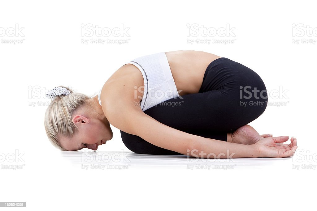 Sport Series: yoga.Childs Pose. royalty-free stock photo