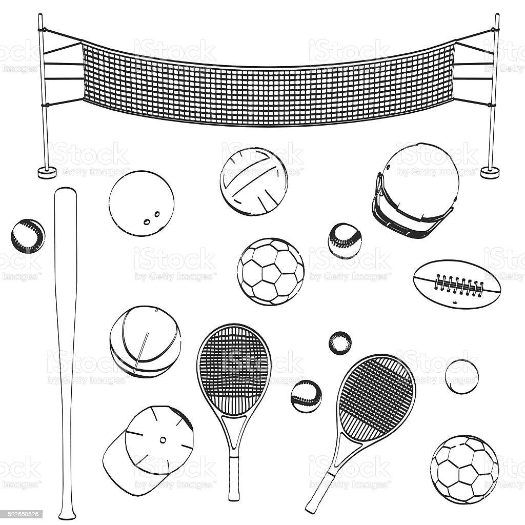 2d cartoon illustration of sport set