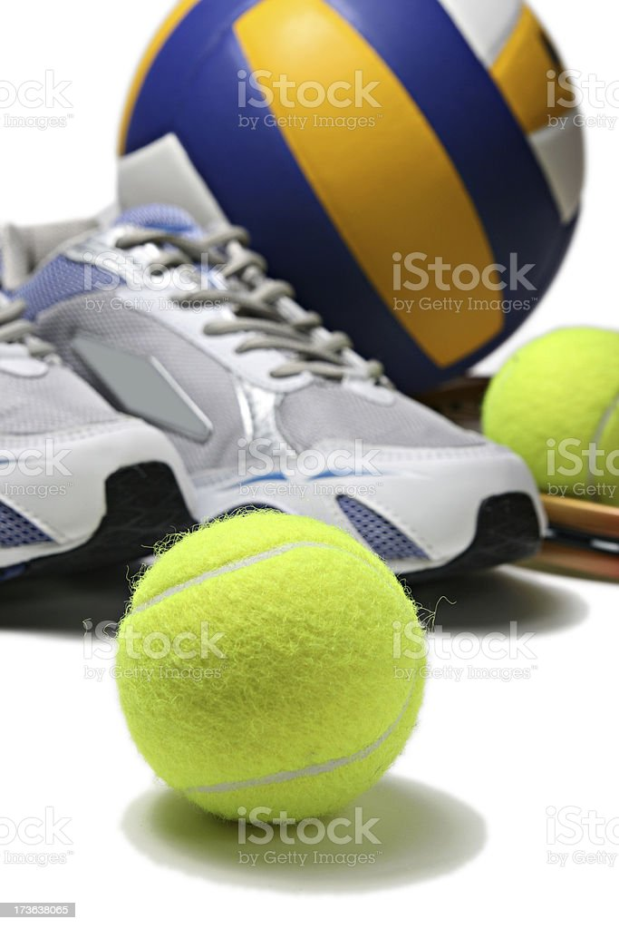 sport shoes and ball stock photo