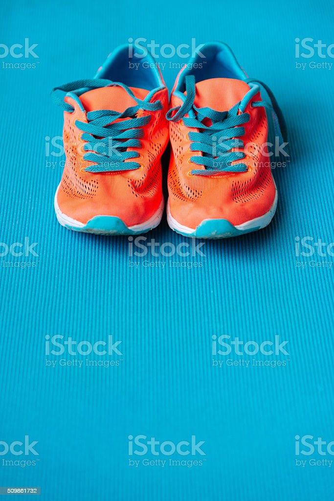 Sport shoes for fitness lifestyle concept background stock photo