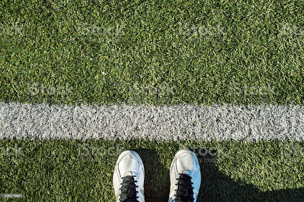 sport shoes on the line stock photo