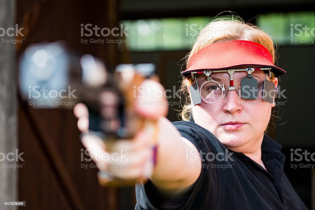 Sport shooting competitor stock photo