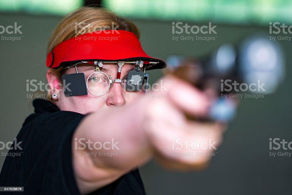 Sport shooting pistol stock photo