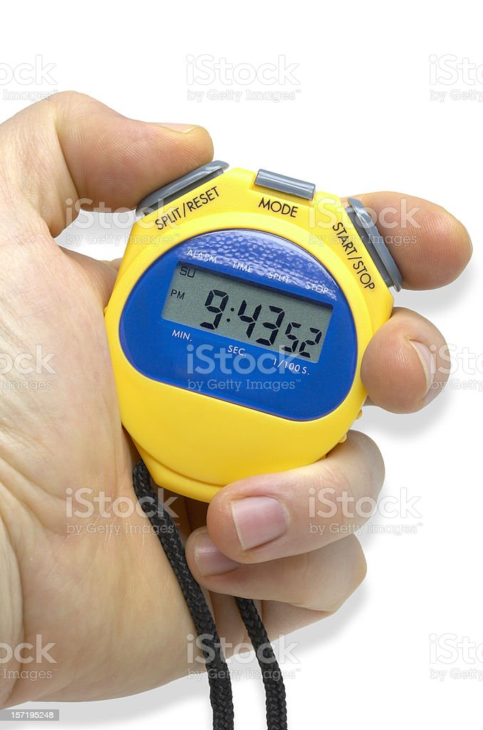 Sport stop-watch in hand royalty-free stock photo