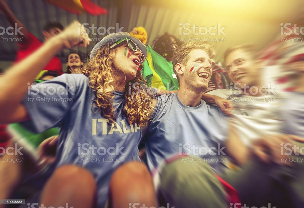 Sport supporters: a girl fan of the Italian team stock photo