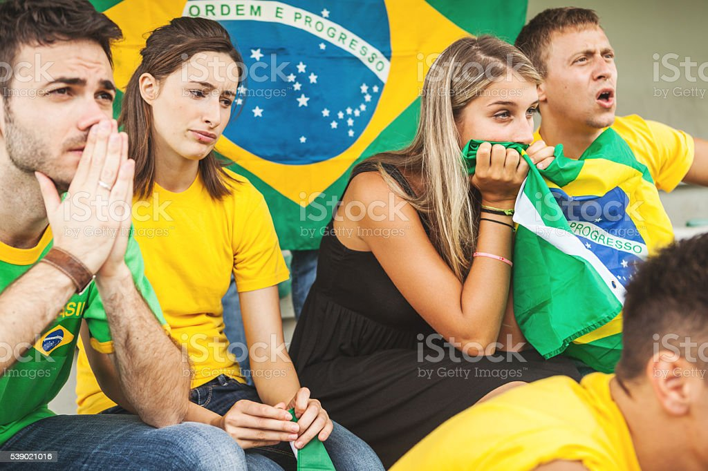 Sport supporters: fans of the Brazilian team stock photo