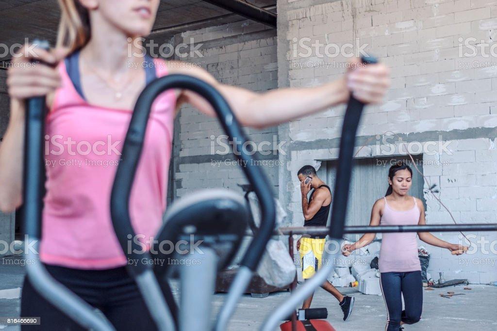Sport training in improvized ghetto fitness stock photo