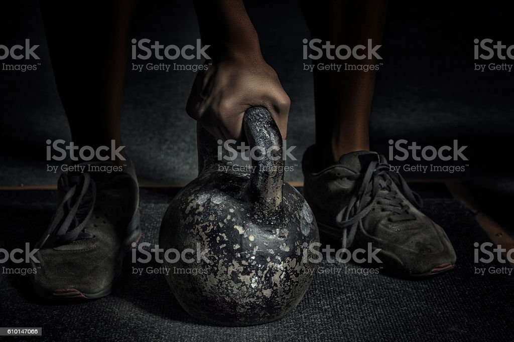 Sport. Unrecognizable strong athlete is going to do exercise wit stock photo