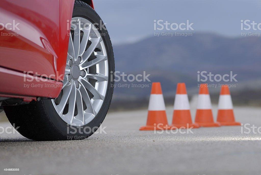 sport wheel and cones stock photo
