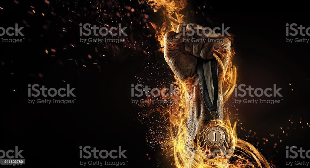 Sport. Winner in a competition. Fire and energy stock photo