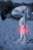 sport woman knee injury