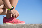 sport woman wearing smart watch