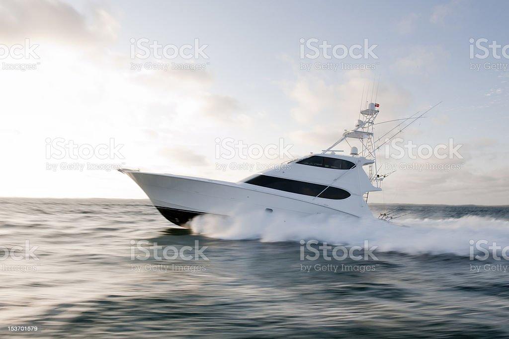 Sportfishing Yacht at Speed stock photo