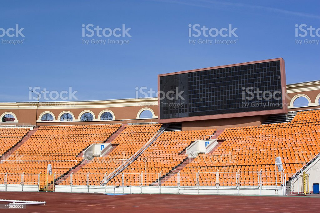 Sporting area: information board on the stadium stock photo