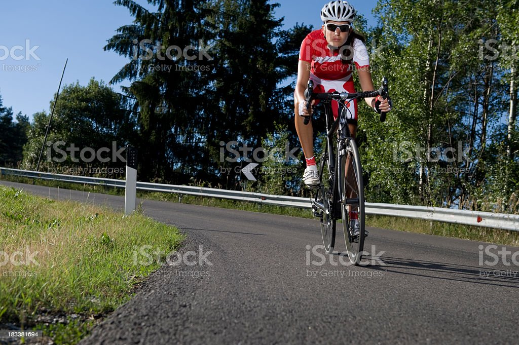 sporting cyclist on a race wheel royalty-free stock photo