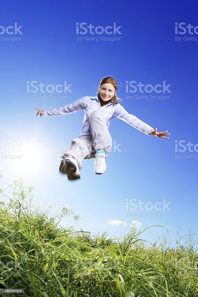 Sporting spirit of a young girl. royalty-free stock photo