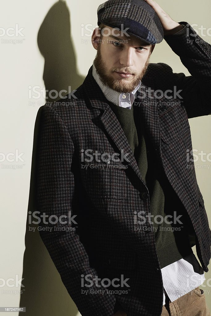 Sporting the latest in winter tweed royalty-free stock photo